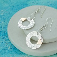 Beaten Silver Disc With Heart Earrings, Silver