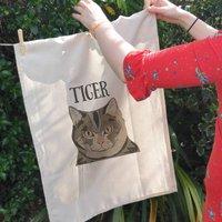 Personalised Tea Towel For Cat Lovers