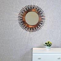 Xenna Antique Copper Sunburst Rays Light Wall Mirror