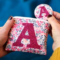 Liberty Glitter Initial Purse And Mirror Birthday Gift, Navy Blue/Navy/Blue