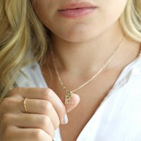 Hammered Initial And Birthstone Charm Necklace