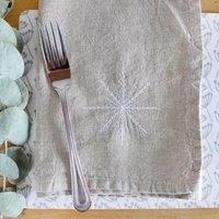 Embroidered Snowflake Linen Napkins