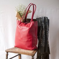 Red Leather Tote Shopper