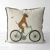 Boxer On Bicycle Decorative Cushion