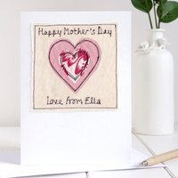 Personalised Heart Mothers Day Card, Pink