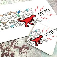 Personalised Dinosaur Placemat And Coaster Set