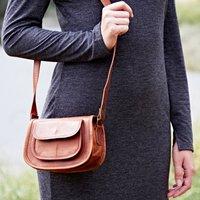 Personalised Leather Saddle Handbag