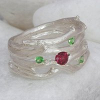 Pink And Green Garnet Multi Strand Silver Ring, Silver