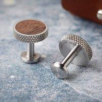 Stainless Steel Diamond Knurl And Walnut Cufflinks
