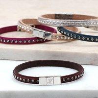 Personalised Swarovski Crystal Single Wrap Bracelet, Silver