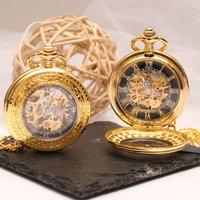 Engraved Gold Skeleton Pocket Watch With Windowed Lid, Gold
