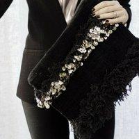 Moroccan Wedding Blanket Black Clutch Bag