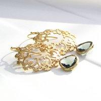 Ornate Gold Filigree Glass Droplet Earrings, Gold