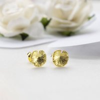 Gold Plated Sterling Silver Lily Pad Studs, Silver
