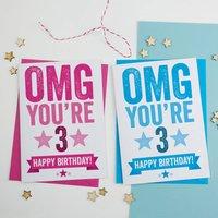 3rd Birthday Card, Blue/Pink