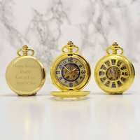 Personalised Pocket Watch With Gold Spoke Design, Gold