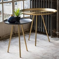 Set Of Two Grey And Light Grey Nesting Tables, Grey/Brass