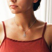 Sterling Silver Geometric Teardrop Necklace, Silver