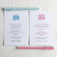 Baby Shoes Christening Invitation, Pale Pink/Pink/Baby Blue