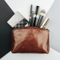 Handcrafted Leather Cosmetic Makeup Bag 'Chia', Chestnut/Tan/Dark Chocolate