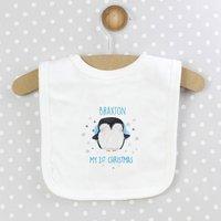 1st Christmas Personalised Penguin Bib