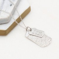 Personalised Sterling Silver Double Dogtag Necklace, Silver