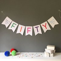 Fifty Birthday Party Banner Bunting Decoration