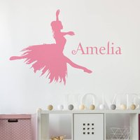 Personalised Ballerina Wall Sticker, White/Black/Grey