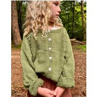 The Kids Hand Knitted Olive Green Eyelet Cardigan