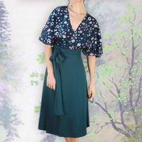 Jewel Garden Sequin Lace Wrap Dress