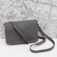 Fair Trade Leather Clutch Bag Detachable Strap, Black/Tan/Teal