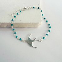 Turquoise Beaded Silver Swallow Bracelet, Silver