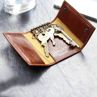 The Finest Italian Leather Key Case Wallet. 'The Lapo', Chestnut/Tan/Dark Chocolate