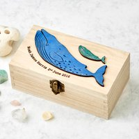 New Baby Boy Whale Christening Keepsake Box