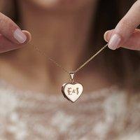Floral Wedding Initials Heart Locket