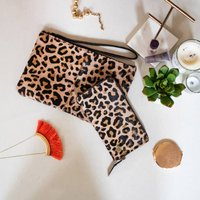 Leopard Print Pony Hair Clutch And Purse Set