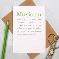 Personalised Musician Definition Music Lovers Card
