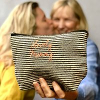 Embroidered Mummy Stripe Make Up Bag