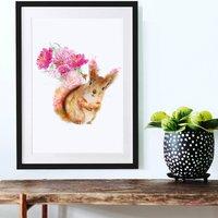 Red Squirrel Wildlife Botanical Art Print