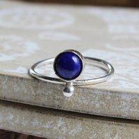 Era. Sterling Silver Boho Round Lapis Lazuli Ring, Silver