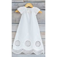 Pure Antique White Cotton And Lace Christening Dress