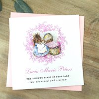 Beatrix Potter New Baby Or Christening Card Pink, Pink/Blue/White