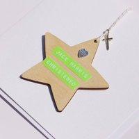Christening, Baptism, Dedication Wooden Boy Star Card