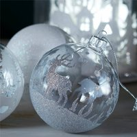 Clear Glass Bauble With Silver Glitter Stag And Tree
