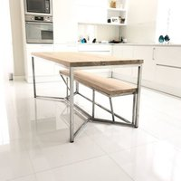 Tower Oak Stainless Steel Legs Dining Table