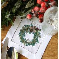 Christmas Wreath Linen Cocktail Napkin
