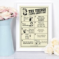 Things I Love About You, Personalised Print For Her