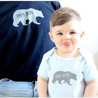 'Papa Bear' And 'Baby Bear' T Shirt Set, Navy/White