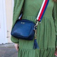 Personalised Leather Navy Blue Handbag