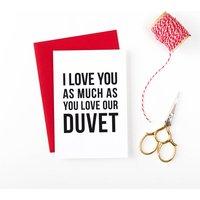 Duvet Lover Valentines Anniversary Card